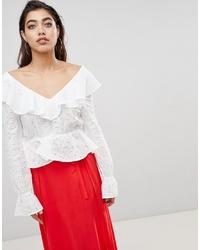 Белая кружевная блузка с длинным рукавом с рюшами от Ivyrevel