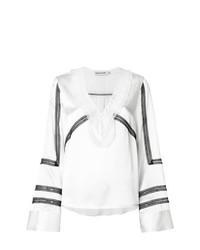 Белая кружевная блузка с длинным рукавом с рюшами от Self-Portrait