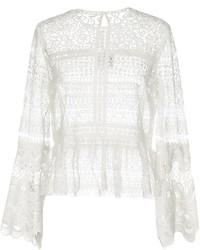 Белая кружевная блузка с длинным рукавом