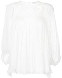 Белая кружевная блузка с длинным рукавом от Chloé