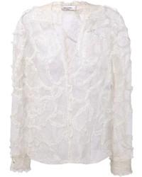 Белая кружевная блузка с длинным рукавом от Valentino