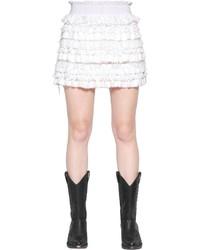 Белая кружевная мини-юбка с рюшами