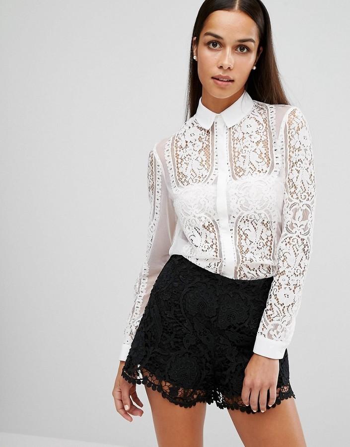 400dd268140 ... Женская белая кружевная рубашка от Lipsy ...