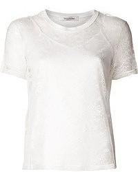 Белая кружевная футболка с круглым вырезом