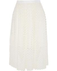 Белая кружевная юбка-миди со складками