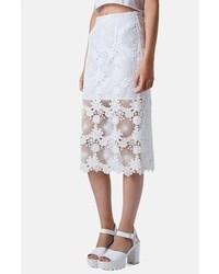 Белая кружевная юбка-миди