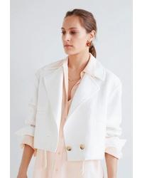Женская белая куртка-рубашка от Mango