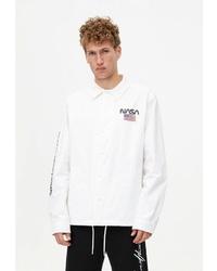 Мужская белая куртка-рубашка от Pull&Bear