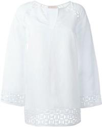 Белая льняная блузка с длинным рукавом