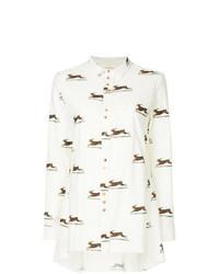 Белая льняная классическая рубашка с принтом