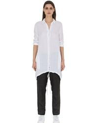 Белая льняная классическая рубашка