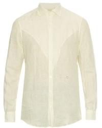 Белая льняная рубашка с длинным рукавом в вертикальную полоску