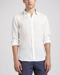 Белая льняная рубашка с длинным рукавом
