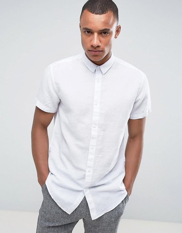 2daa39fcc Мужская белая льняная рубашка с коротким рукавом от Selected, 3 529 ...