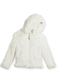 Белая меховая куртка