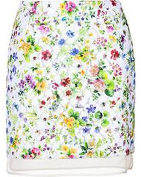 Белая мини-юбка с цветочным принтом