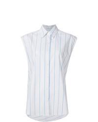 Белая рубашка без рукавов в вертикальную полоску