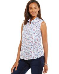 Белая рубашка без рукавов с цветочным принтом