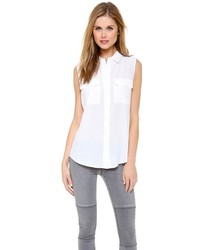 Женская белая рубашка без рукавов от Equipment