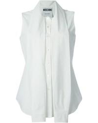 Женская белая рубашка без рукавов от Moschino
