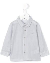 Белая рубашка с длинным рукавом в вертикальную полоску