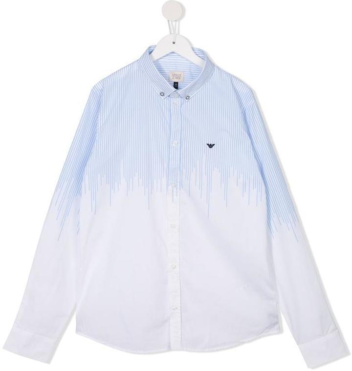 Детская белая рубашка с длинным рукавом в вертикальную полоску для мальчиков от Armani Junior