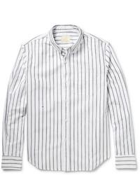 Мужская белая рубашка с длинным рукавом в вертикальную полоску от Band Of Outsiders