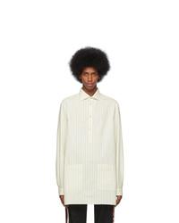 Мужская белая рубашка с длинным рукавом в вертикальную полоску от Gucci