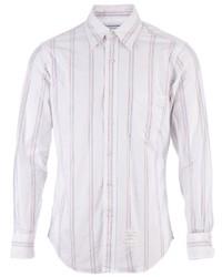 Мужская белая рубашка с длинным рукавом в вертикальную полоску от Thom Browne