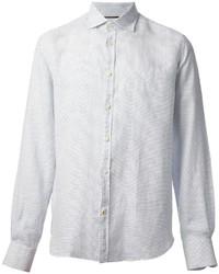 Белая рубашка с длинным рукавом в горошек