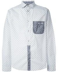 Мужская белая рубашка с длинным рукавом в горошек от Armani Jeans