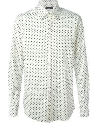 Мужская белая рубашка с длинным рукавом в горошек от Dolce & Gabbana