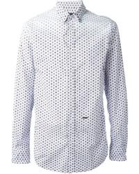 Мужская белая рубашка с длинным рукавом в горошек от DSQUARED2
