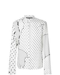 Мужская белая рубашка с длинным рукавом в горошек от Haider Ackermann
