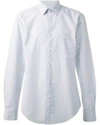 Мужская белая рубашка с длинным рукавом в горошек от Hope