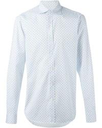 Мужская белая рубашка с длинным рукавом в горошек от Z Zegna