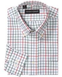 Белая рубашка с длинным рукавом в клетку