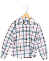 Белая рубашка с длинным рукавом в шотландскую клетку