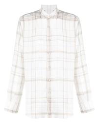 Мужская белая рубашка с длинным рукавом в шотландскую клетку от Canali