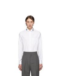 Мужская белая рубашка с длинным рукавом с вышивкой от Gucci