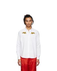 Мужская белая рубашка с длинным рукавом с вышивкой от Kenzo