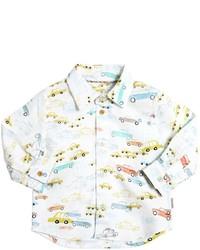 Белая рубашка с длинным рукавом с принтом