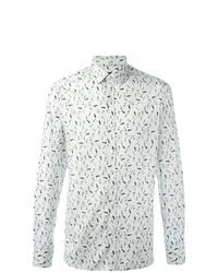 Мужская белая рубашка с длинным рукавом с принтом от Lanvin