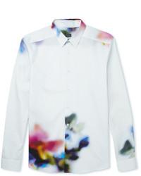 Мужская белая рубашка с длинным рукавом с принтом от Paul Smith