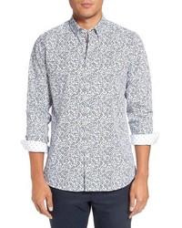 Белая рубашка с длинным рукавом с цветочным принтом