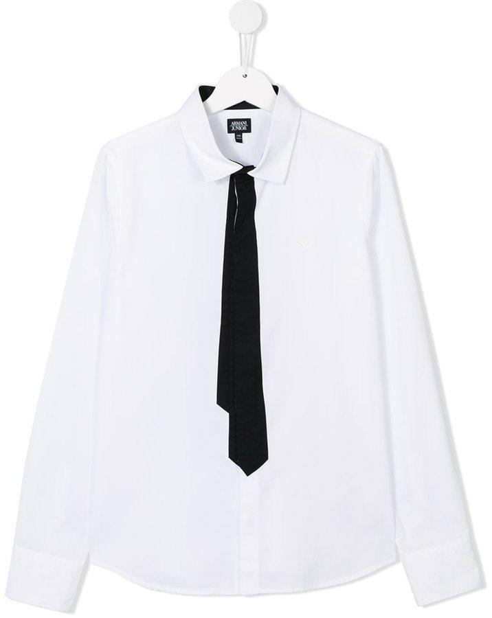 Детская белая рубашка с длинным рукавом для мальчику от Armani Junior