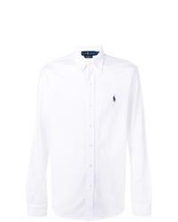 Мужская белая рубашка с длинным рукавом от Polo Ralph Lauren