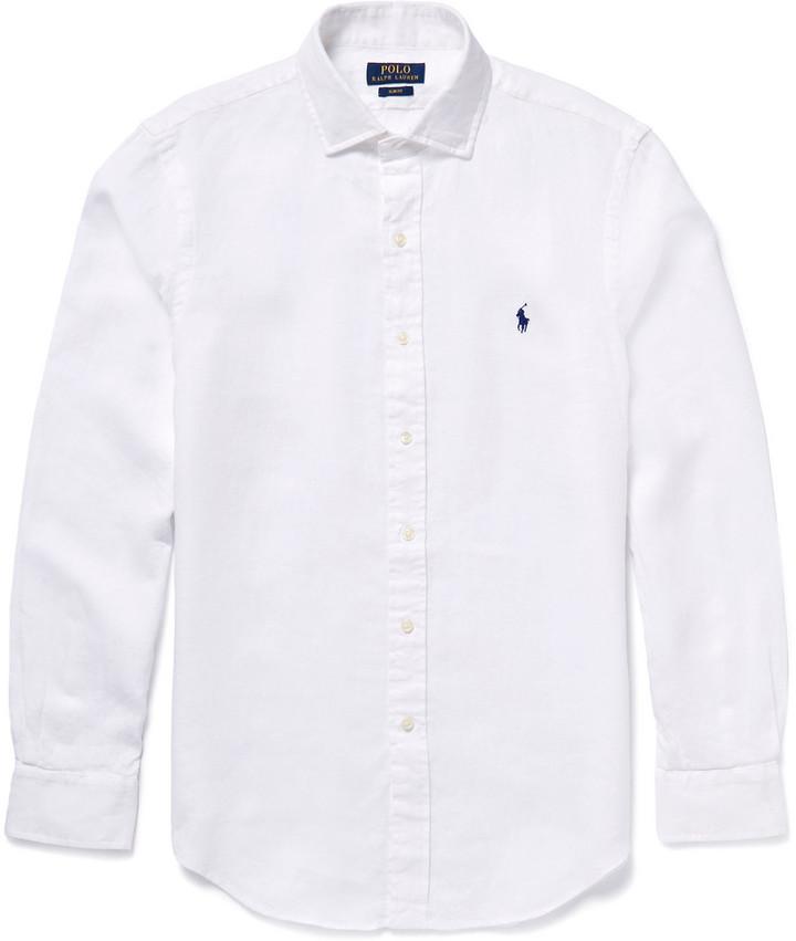7abc1796f14d Мужская белая рубашка с длинным рукавом от Polo Ralph Lauren