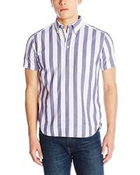 Белая рубашка с коротким рукавом в вертикальную полоску