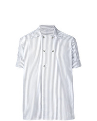Мужская белая рубашка с коротким рукавом в вертикальную полоску от Aganovich